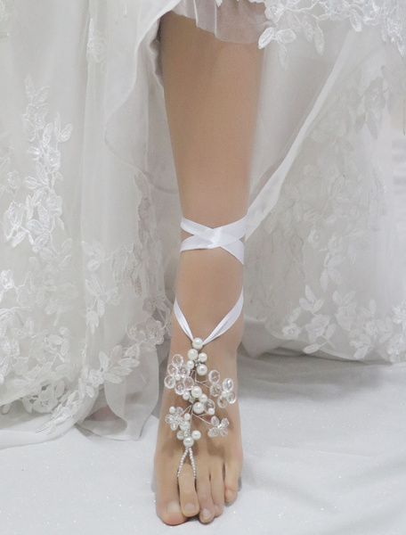 White Wedding Footwear Beaded Ribbons Dangling Crystal Elegant Shoes Accessories фото