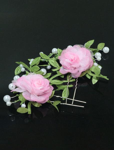 Розовый Свадебные Головные Украшения Цветы Заколки Для Волос Жемчуг Свадебные Аксессуары Для Волос