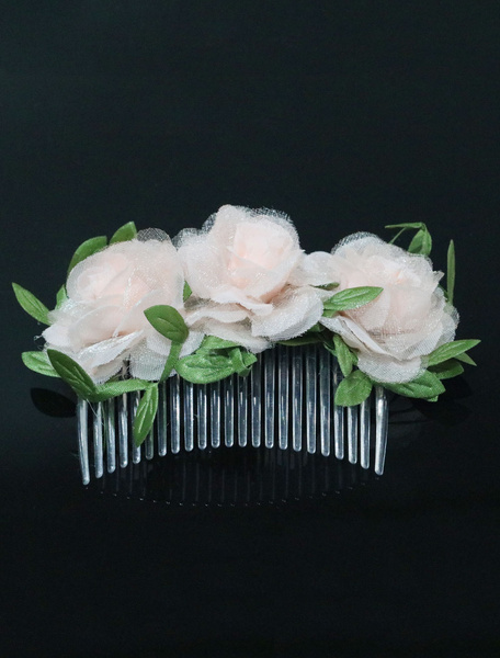 Comb Wedding Headpieces Flowers Champagne Bridal Hair Accessories Milanoo