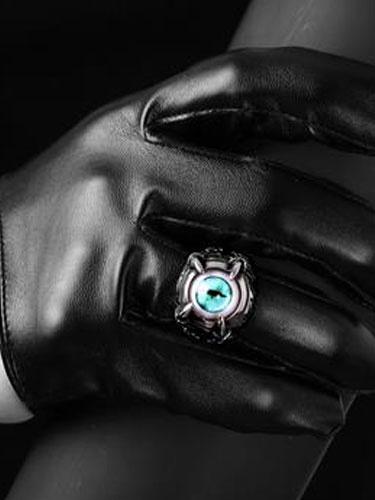 Argento anelli Vintage Anello Punk maschile malocchio sfera in acciaio inox