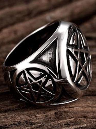 Argento dell'anello di Signet Vintage Punk anelli maschile in acciaio inox