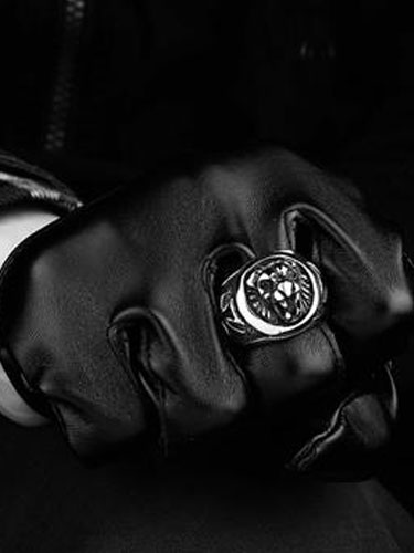 Argento Leone testa in acciaio inox anello Vintage anelli Punk maschile