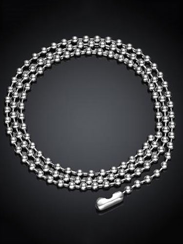 Silver Chain Necklace Men's Stainless Steel Beaded Punk Vintage Necklace фото