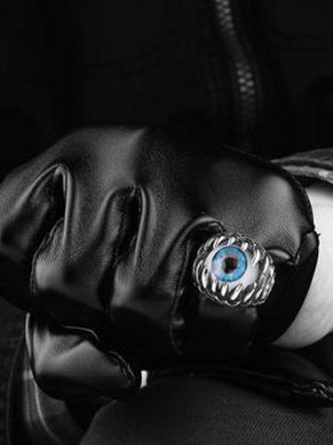 In acciaio inox anello Vintage anelli d'argento punk malocchio sfera maschile
