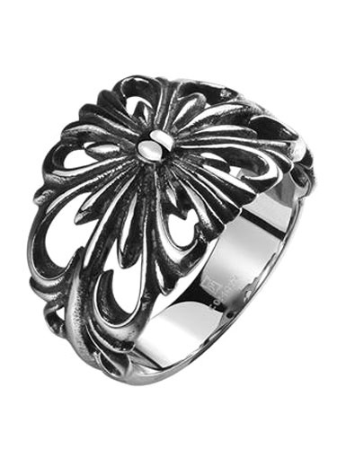 Punk Silver Rings Men's Hollow Out Stainless Steel Vintage Ring фото