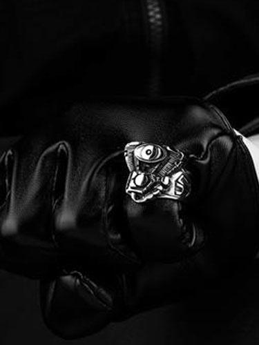 Anelli d'argento punk Anello Vintage in acciaio inox uomo