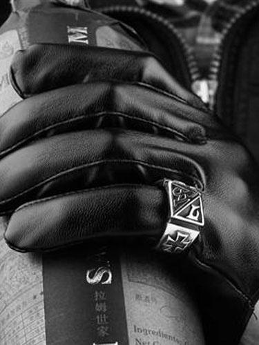 Anelli d'argento punk Croce Anello Vintage da uomo acciaio