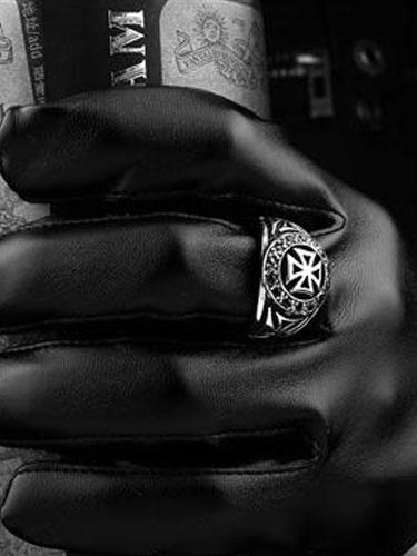 Anelli d'argento punk Croce in acciaio inox anello Vintage Uomo