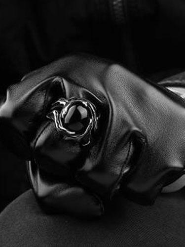 Anello in argento Punk maschile Jeweled Anello Vintage in acciaio inox