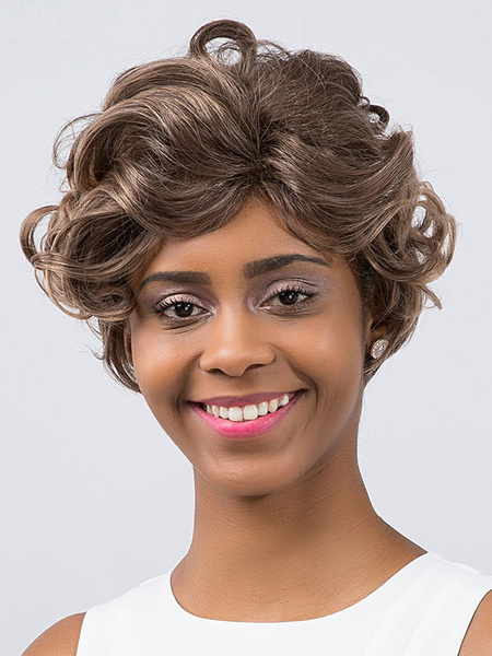 Women's Short Wigs Taupe Fluffy Curly African American Hair Wigs