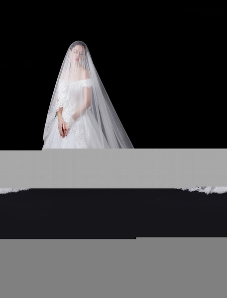 Cathedral Wedding Veil Tulle Ivory Lace Applique Edge One Tier Bridal Veil фото