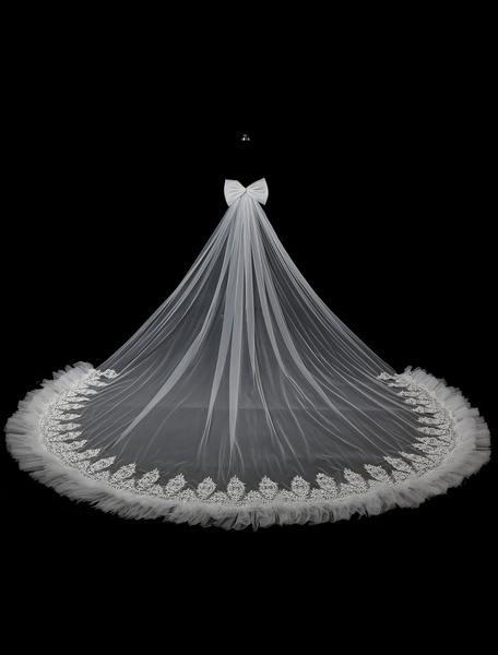 Cathedral Wedding Veil Tulle Trim Ivory Applique Ruffles Waterfall Bridal Veil