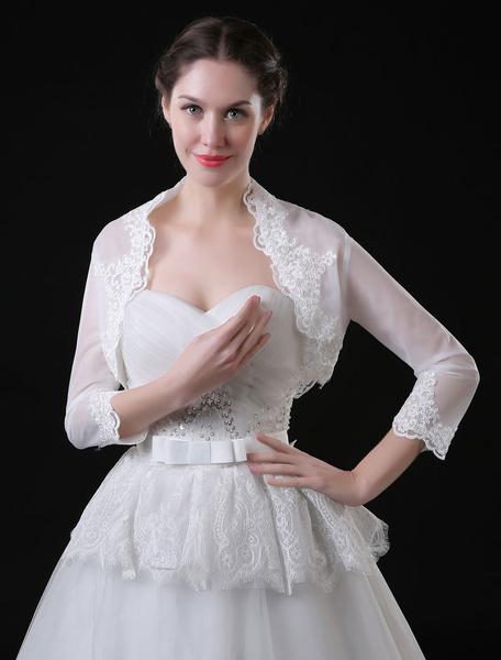 Wedding Bolero Jacket 3/4 Sleeve Lace Applique Bridal Top Cover Ups фото