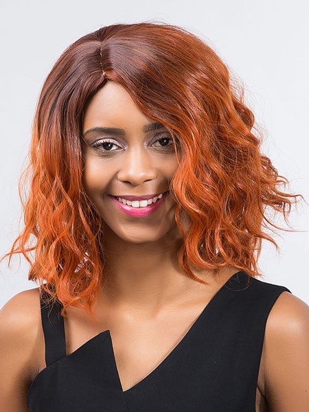 Women's Hair Wigs Orange Red Curly Side Parting Synthetic Wigs
