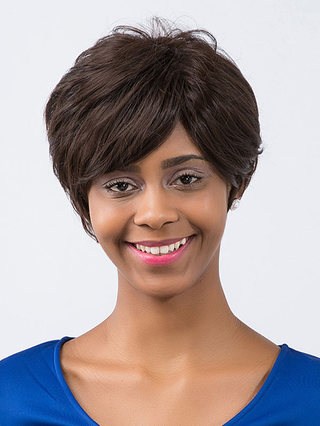 Short Hair Wigs Deep Brown Side Swept Bangs Straight Women's Synthetic Wigs