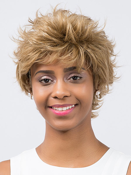 Short Blond Wigs Women's Fluffy Synthetic Hair Wigs
