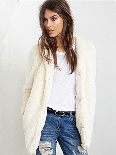 Image of Faux Fur Coat Longline Women's Round Collar Ecru White Winter Fluffy Coat
