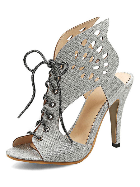 Grey Sandal Boots Women's Sequined Peep Toe Lace Up Cut Out Stiletto High Heel Sandals