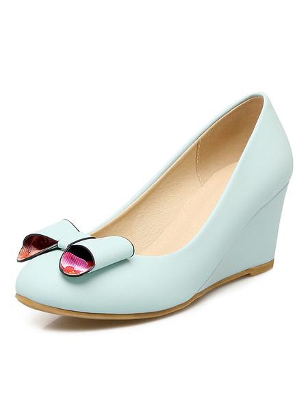 Women's Wedge Shoes Light Blue Round Toe Slip On Bow Decor Sweet Pumps фото