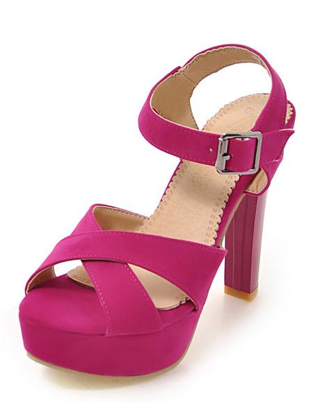 Women's Platform Sandals Rose Red Criss Cross Buckle Strap Chunky High Heel Sandals