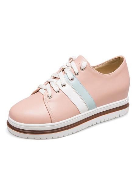 Женские повседневные кроссовки розовый круглый носок на шнуровке скрытый каблук цвет блока обувь