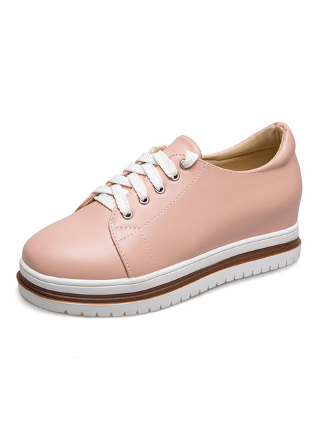 Женские повседневные кроссовки розовый круглый носок цвет блока шнурует вверх скрытые каблук ботинки
