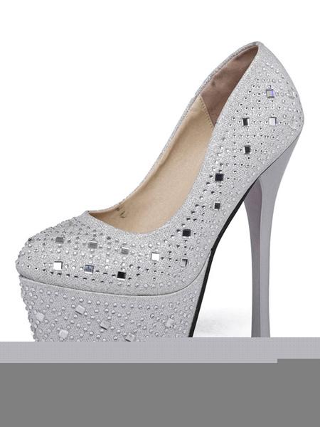 Women's Platform Pumps Sequins Round Toe Rhinestones Slip On Stiletto High Heel Shoes