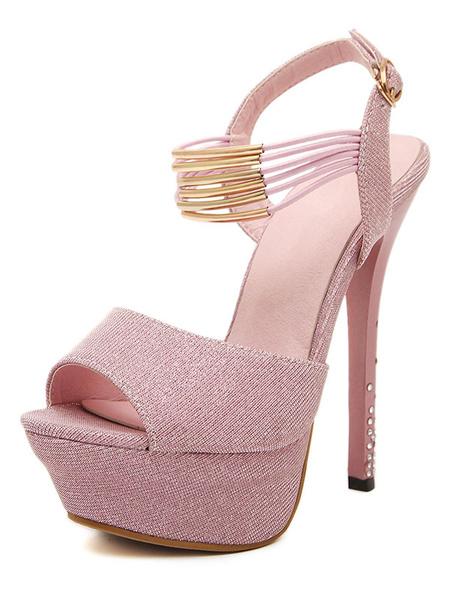 Women's Canvas Sandals Peep Toe Buckled Strap Embellished Stiletto Platform High Heel Sandals