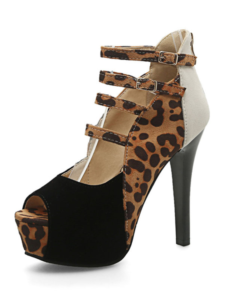 Suede High Heels Women's Peep Toe Stiletto Color Block Strappy Cut Out Platform Sandal Boots