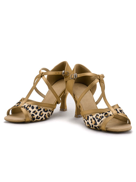 Latin Dance Shoes Satin Leopard Printed Strappy Cross Kitten Heel Ball Room Shoes