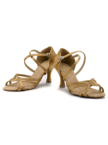 Latin Dance Shoes Satin Brown Strappy Criss Cross Cut Out Kitten Heel Ballroom Shoes