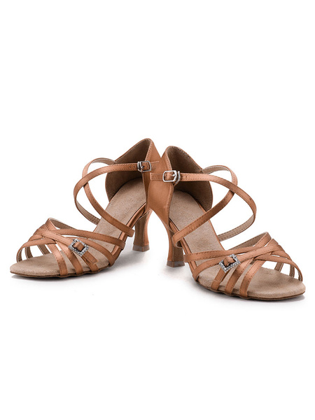 Brown Ballroom Shoes Satin Strappy Criss Cross Cut Out Kitten Heel Latin Dance Shoes