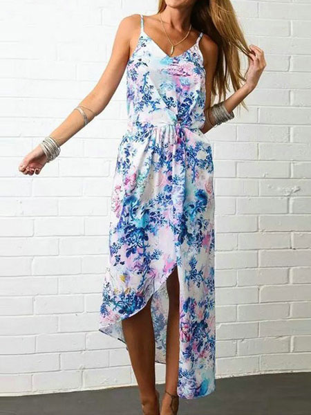 Blue Maxi Dress Chiffon Summer Floral Print Backless Women's Beach Slip Dress
