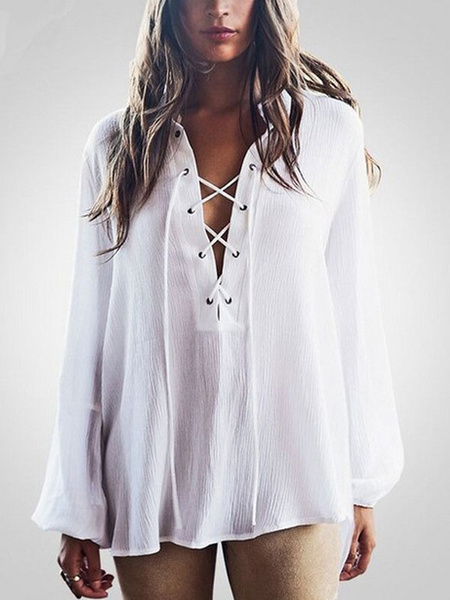 Chiffon White Blouse Women's Turndown Collar Long Sleeve Lace Up High Low Chic Top фото