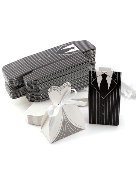 Wedding Favor Boxes Brides Groom Paper Wedding Party Favor Containers Set Of 12 фото