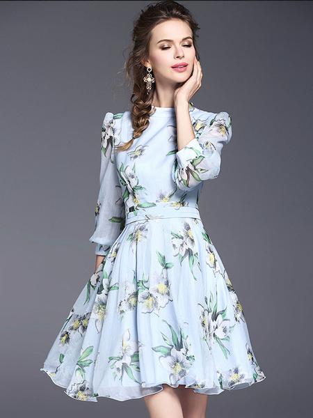 Chiffon Skater Dress Light Blue Floral Print Women's Half Sleeve Summer Flare Dress фото