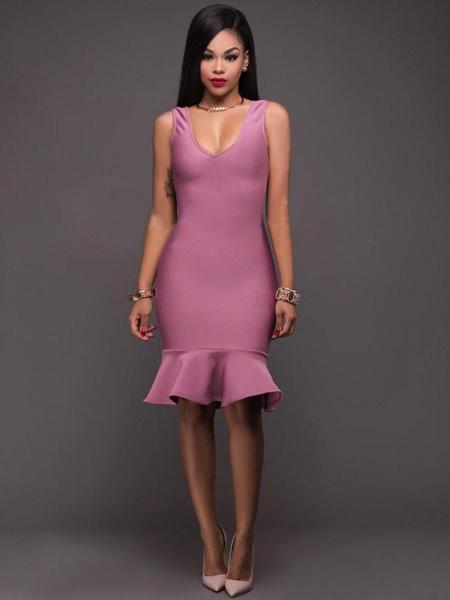 Mermaid Bodycon Dress V Neck Ruffles Sleeveless Women's Purple Sheath Dress фото