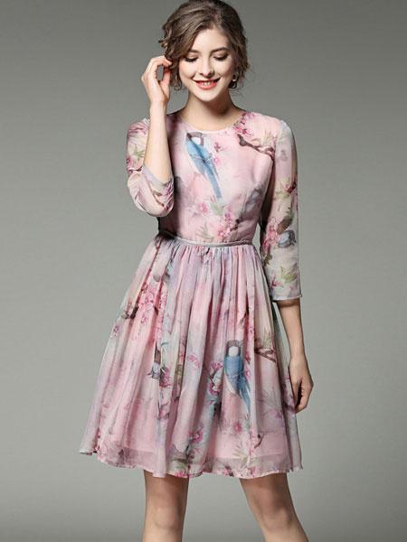 Pink Skater Dress Chiffon Floral Print Women's 3/4 Sleeve Flare Dress