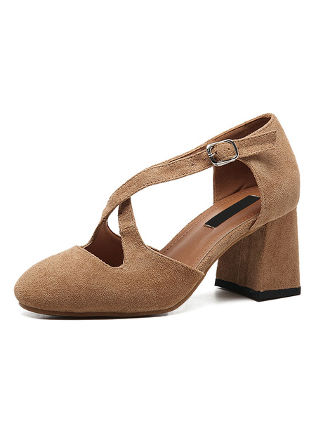 Suede Puppy Heels Women's Round Toe Criss Cross Cut Out Block Heel Pump Shoes Milanoo