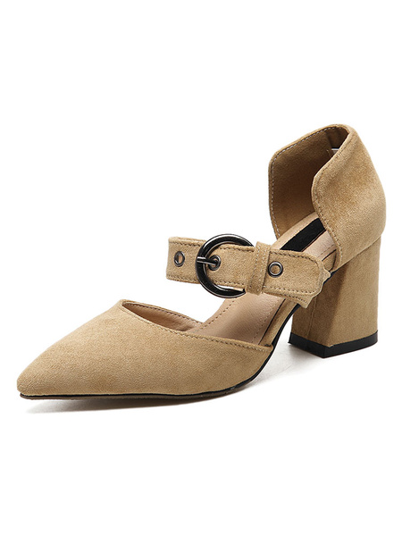 Suede Chunky Heels Women's Pointed Toe Buckled Puppy Heel Pump Shoes