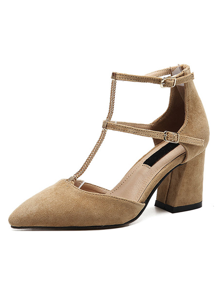 Pointed Toe Heels Suede Apricot Chain Detail Ankle Strap Chunky Heel Shoes For Women