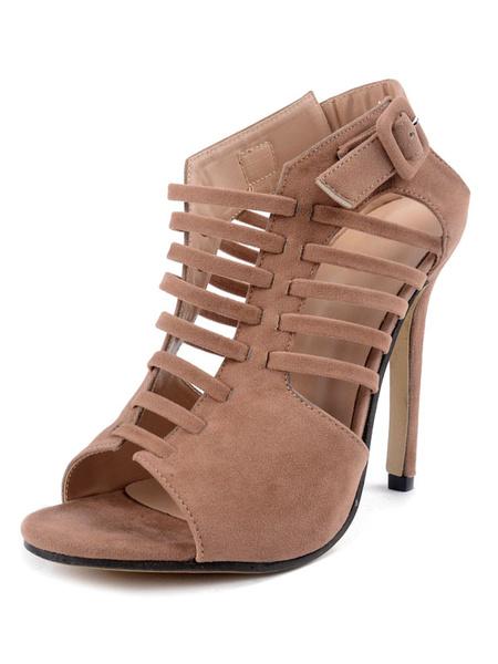 Donne sandali gladiatore di pelle scamosciata s Open Toe Cut-Out Sandali Stiletto Slingback High Hee