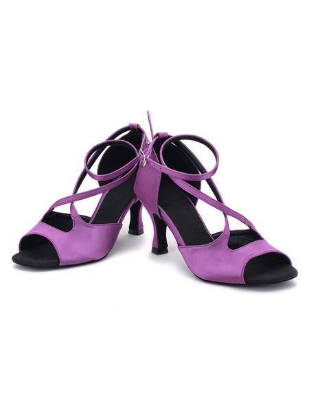 Purple Ballroom Shoes Satin Spool Heel Open Toe Criss Cross Dance Shoes For Women