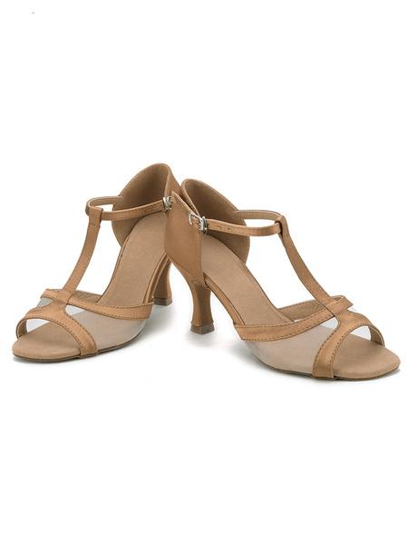 Brown Dance Shoes Satin Spool Heel Open Toe T Type Ballroom Shoes For Women
