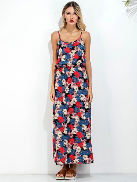 Floral Maxi Dress Women's Chiffon Summer Beach Long Slip Dress
