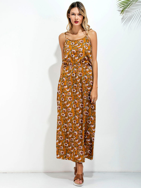 Yellow Maxi Dress Floral Summer Beach Chiffon Women's Backless Long Slip Dress