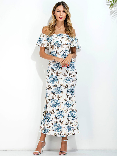 Floral Maxi Dress White Leaf Printed Off The Shoulder Back Slit Summer Beach Dress