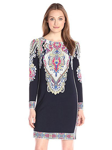 Black Shift Dress Jewel Neck Long Sleeve Printed Cotton Short Dress