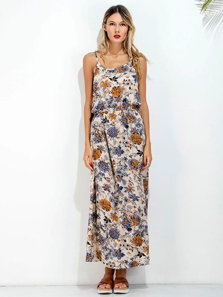 Maxi Summer Dress Floral Printed Chiffon Yellow Women's Backless Long Beach Slip Dress