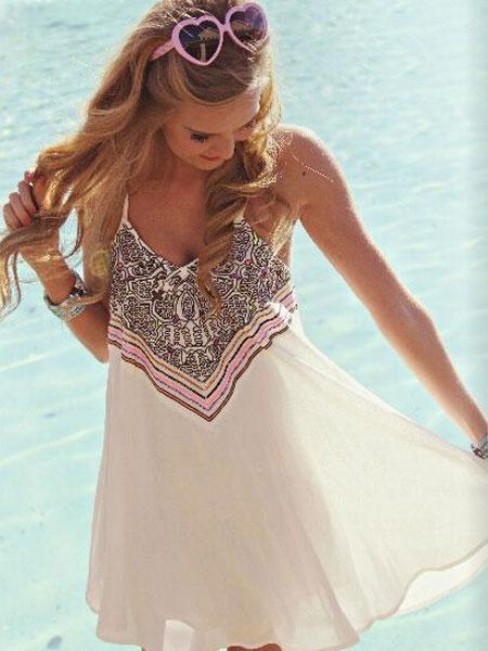 Chiffon Summer Dress White Strappy V Neck Sleeveless Printed Short Dress фото